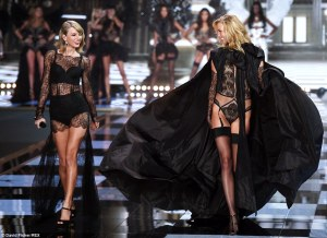 Taylor Swift and a model side by side. almost