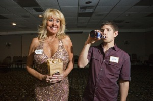 Melanie Garrett, 51, and Josh Goldstein, 28, at the California Cougar Convention in a Beverly Hills hotel. Cougars are women over the age of 40, who are attracted to and date younger men, and are often financially independent. Garrett, a divorced entrepreneur, is a regular at many of the cougar parties throughout California and says she loves being called a cougar and is open to dating men 18 years or older.